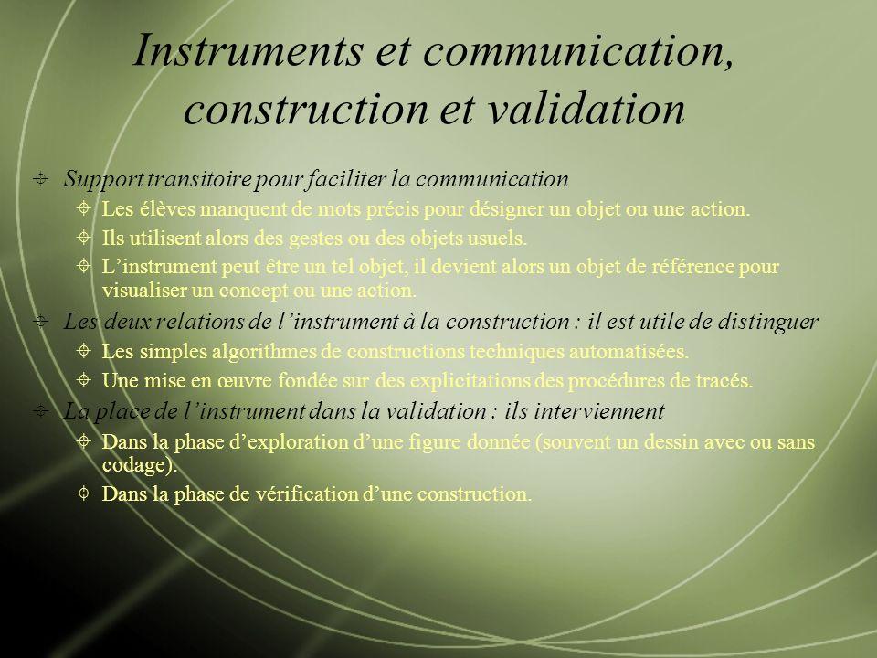 Instruments et communication, construction et validation