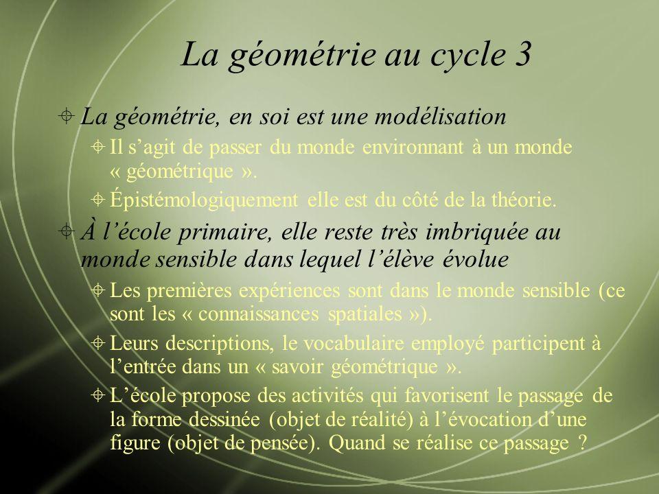 La géométrie au cycle 3 La géométrie, en soi est une modélisation