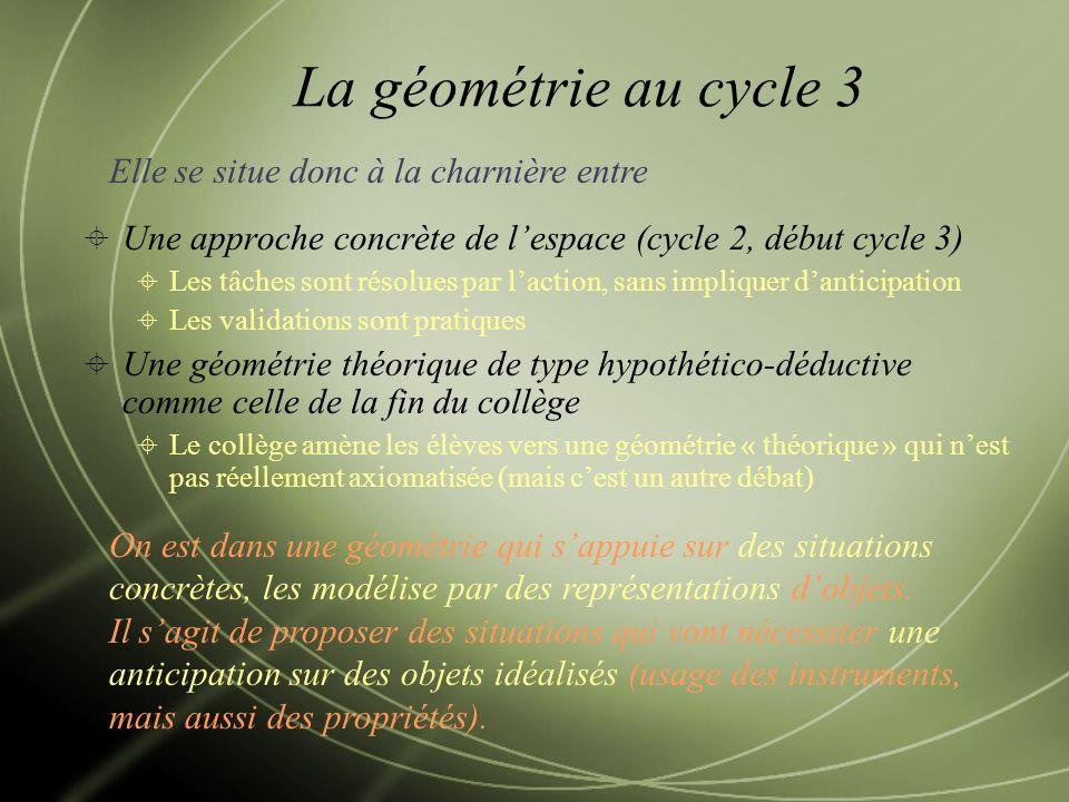 La géométrie au cycle 3 Elle se situe donc à la charnière entre