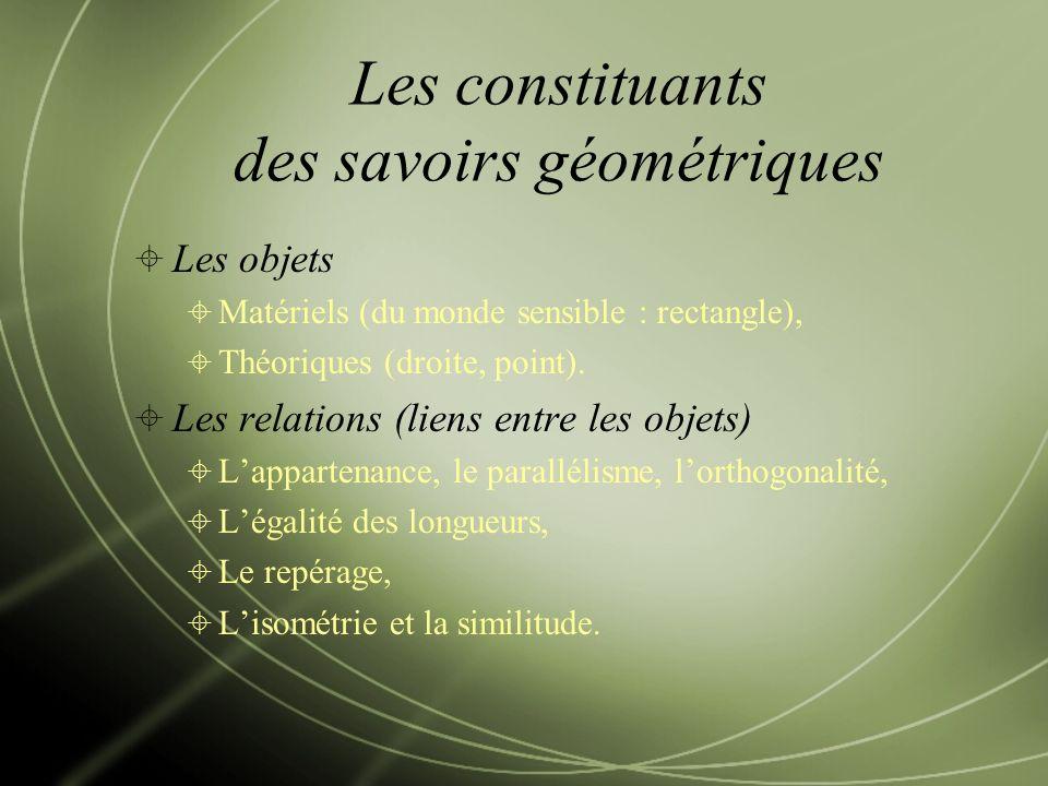 Les constituants des savoirs géométriques