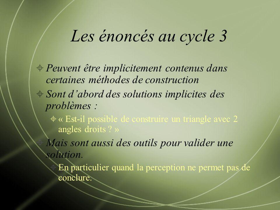 Les énoncés au cycle 3 Peuvent être implicitement contenus dans certaines méthodes de construction.