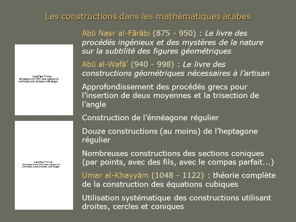 Les constructions dans les mathématiques arabes