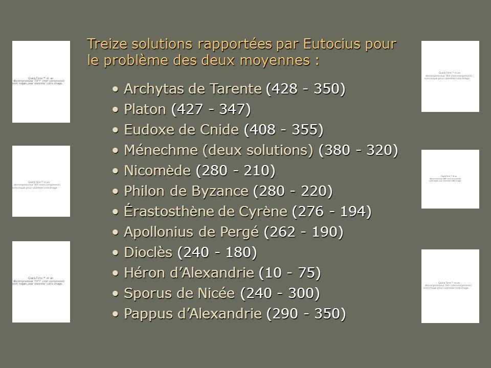 Treize solutions rapportées par Eutocius pour le problème des deux moyennes :