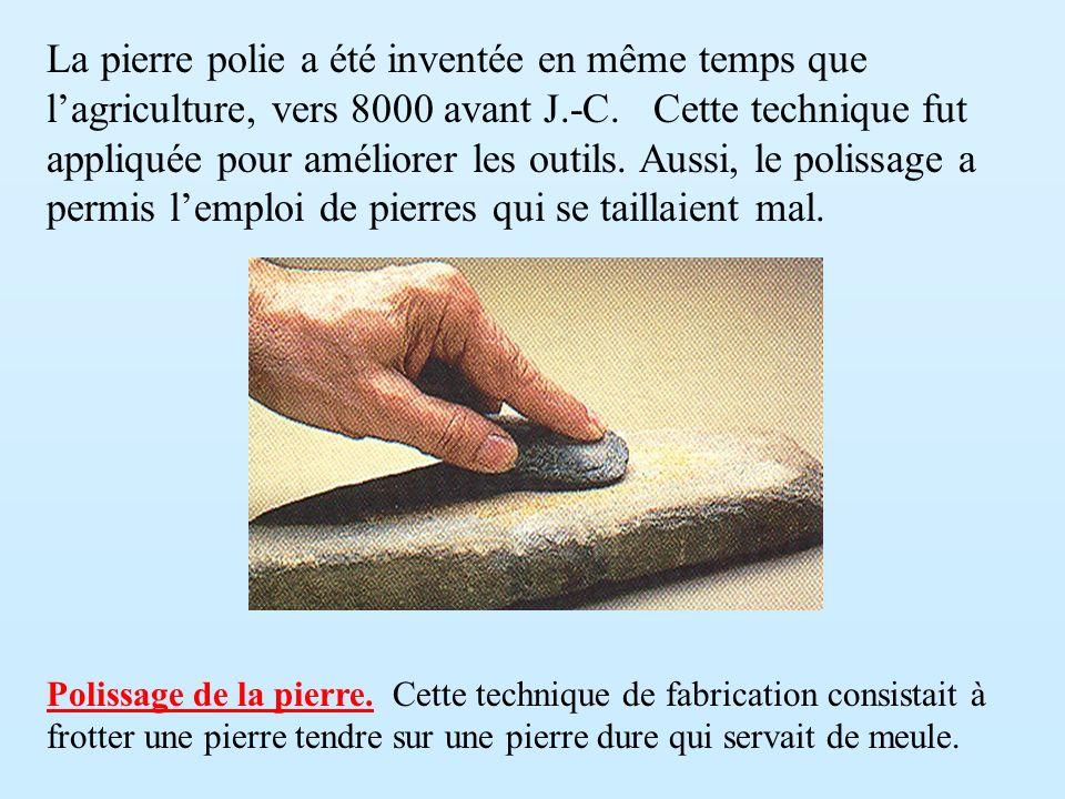 La pierre polie a été inventée en même temps que l'agriculture, vers 8000 avant J.-C. Cette technique fut appliquée pour améliorer les outils. Aussi, le polissage a permis l'emploi de pierres qui se taillaient mal.