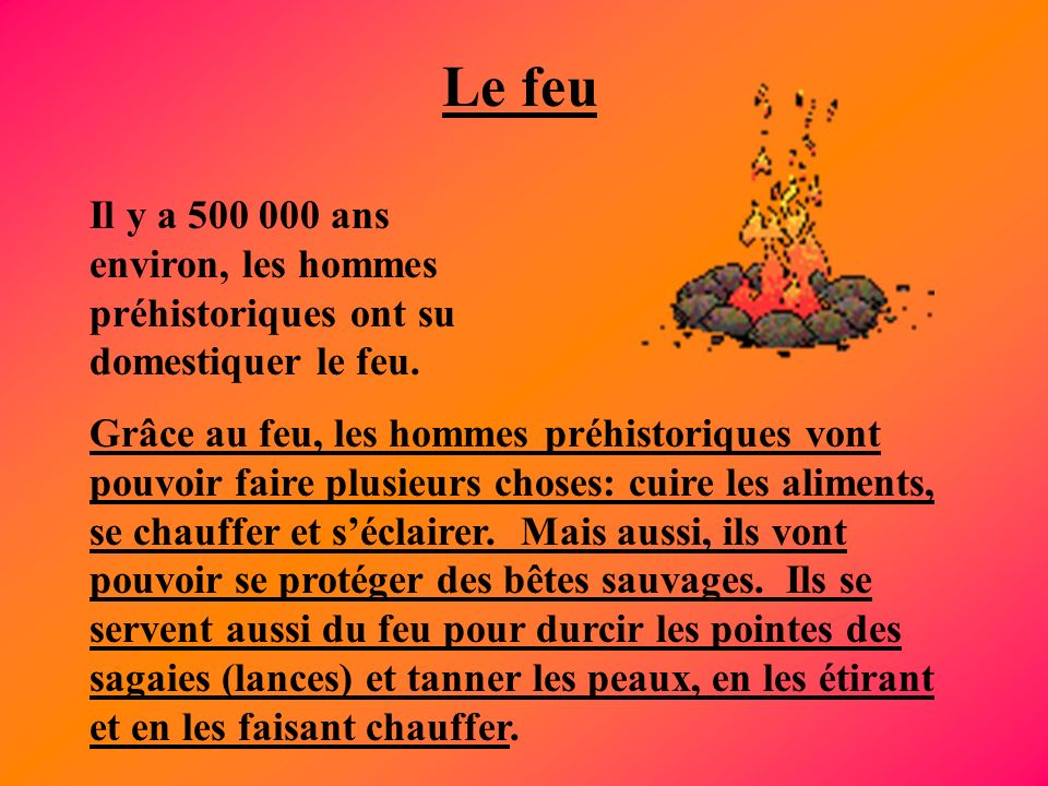 Le feu Il y a 500 000 ans environ, les hommes préhistoriques ont su domestiquer le feu.