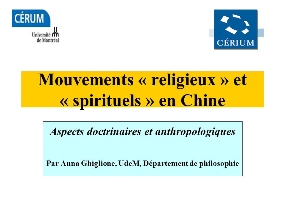 Mouvements « religieux » et « spirituels » en Chine