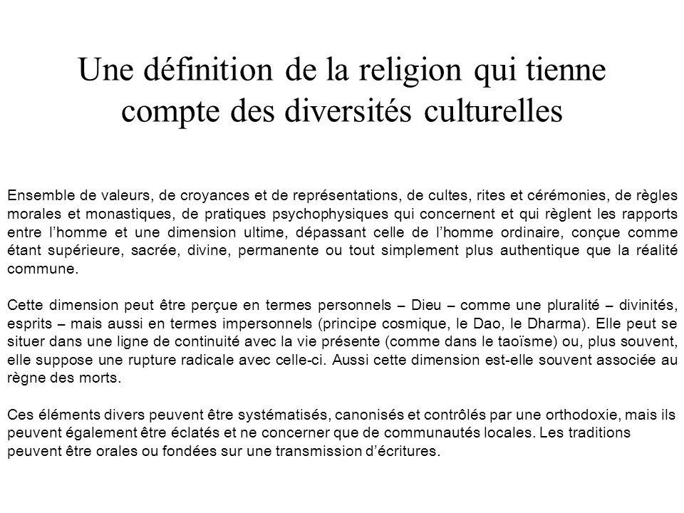 Une définition de la religion qui tienne compte des diversités culturelles