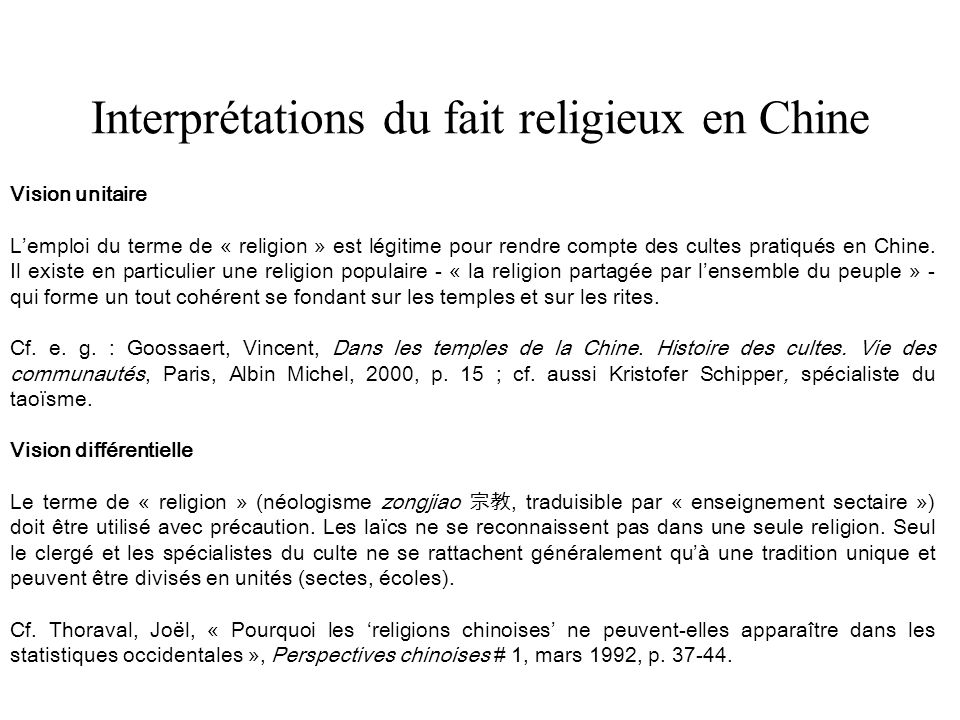 Interprétations du fait religieux en Chine