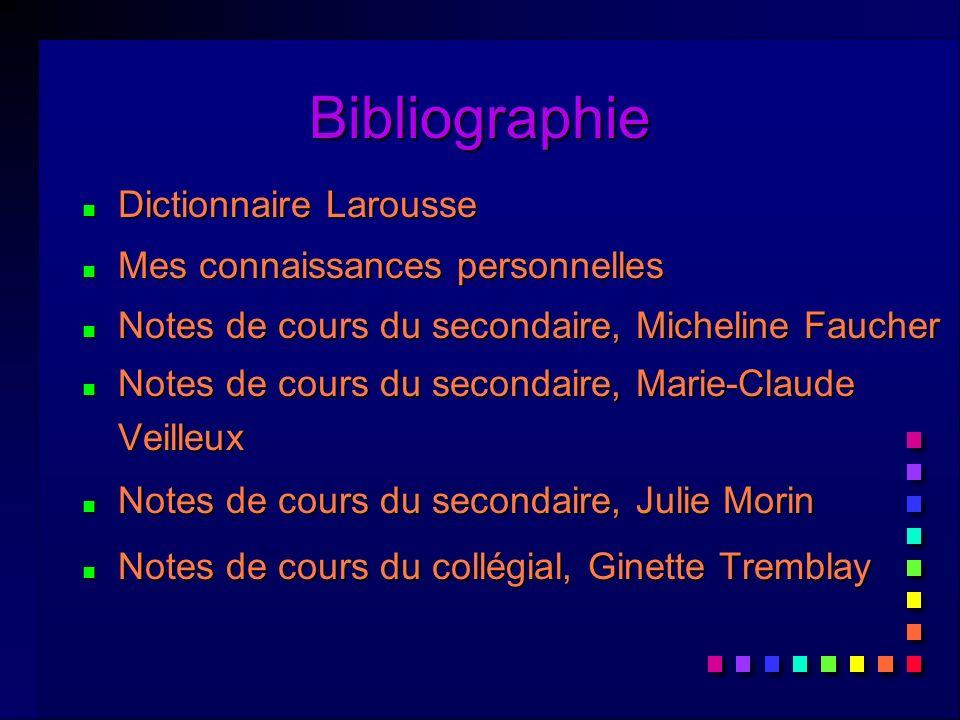 Bibliographie Dictionnaire Larousse Mes connaissances personnelles