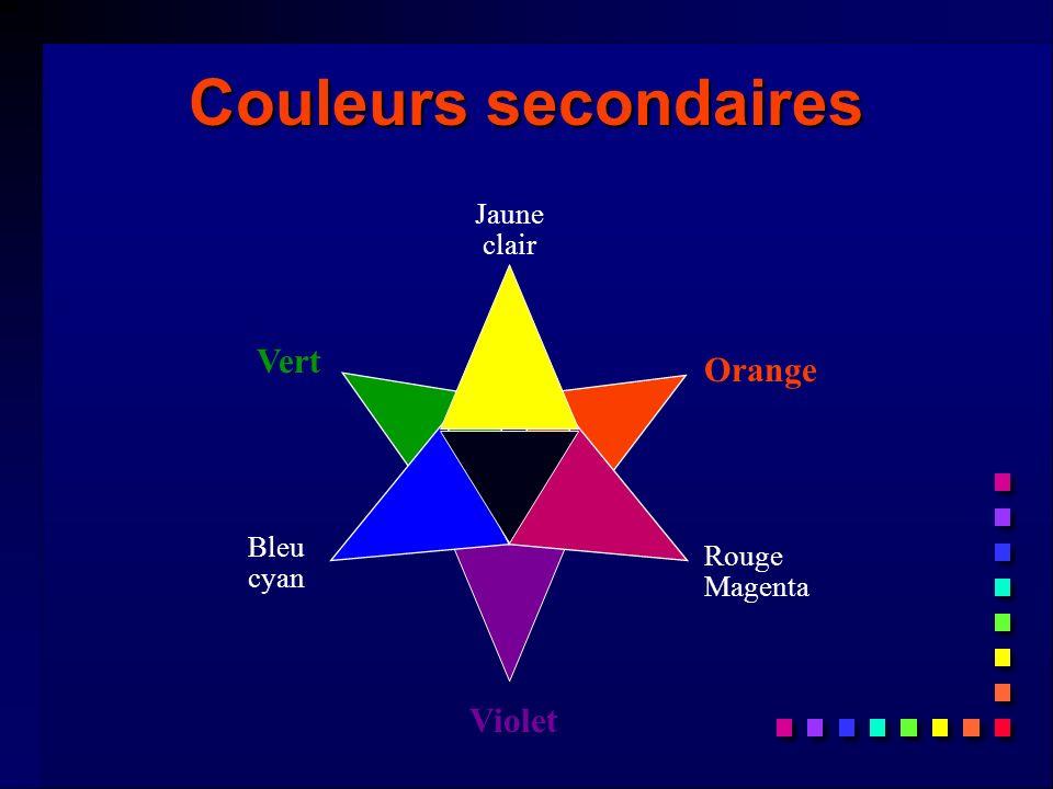 Couleurs secondaires Vert Orange Violet Jaune clair Bleu cyan