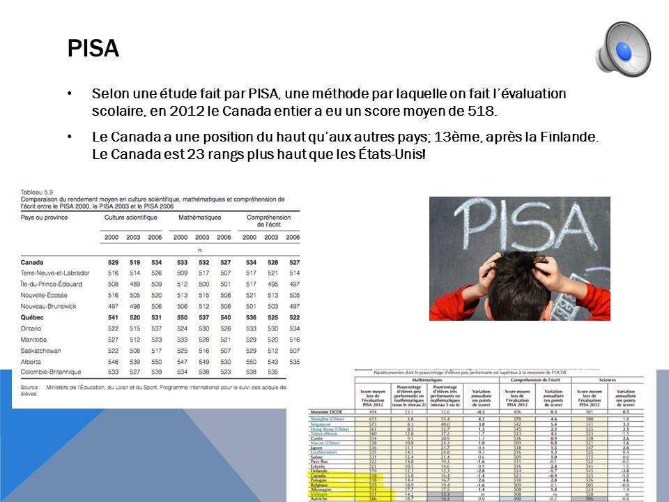 PISA Selon une étude fait par PISA, une méthode par laquelle on fait l'évaluation scolaire, en 2012 le Canada entier a eu un score moyen de 518.