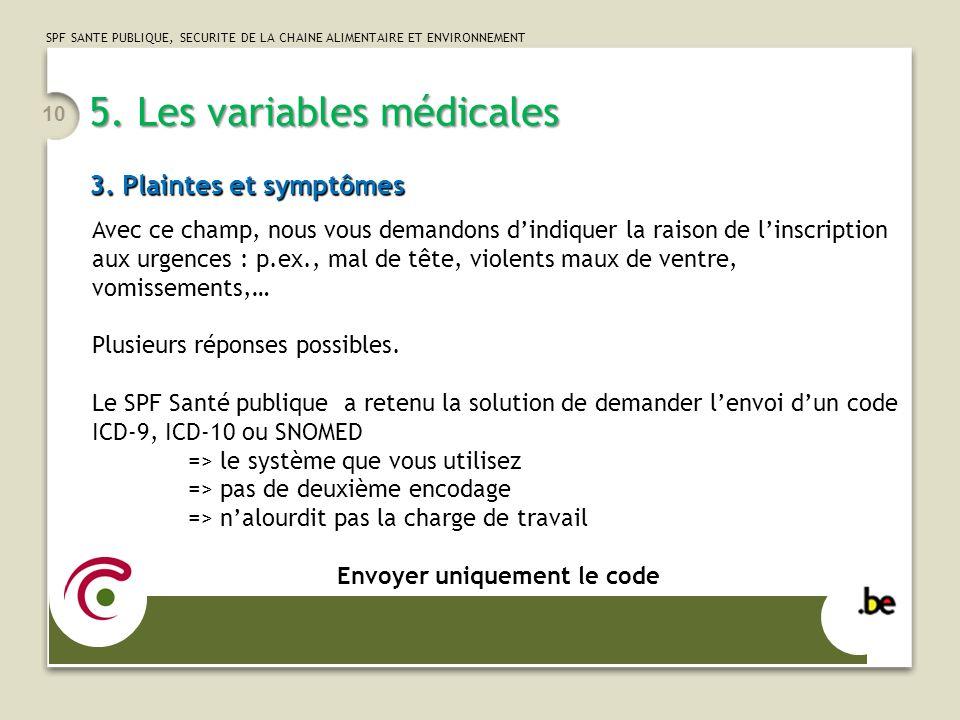 5. Les variables médicales