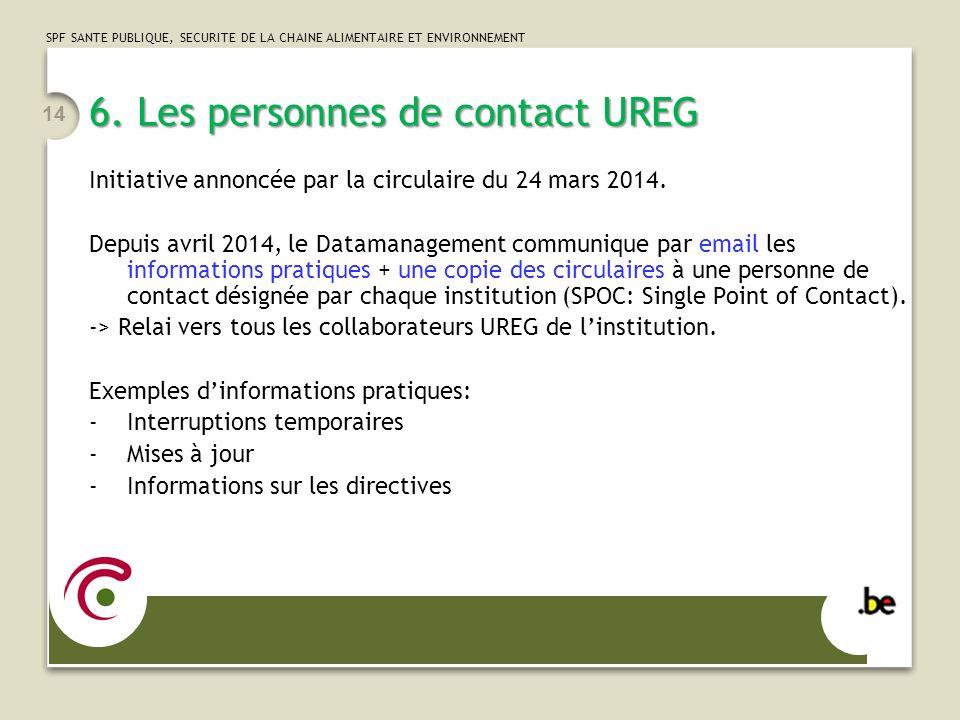 6. Les personnes de contact UREG