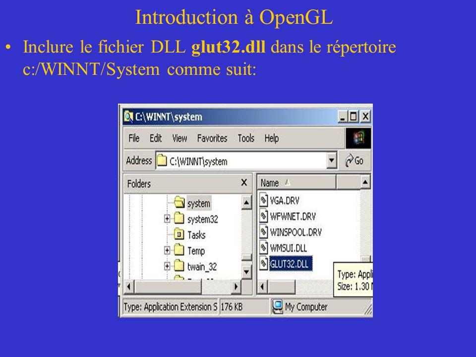 Introduction à OpenGL Inclure le fichier DLL glut32.dll dans le répertoire c:/WINNT/System comme suit:
