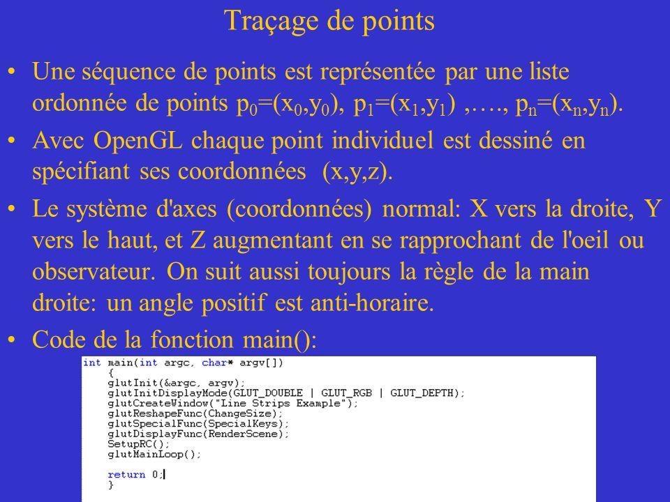 Traçage de points Une séquence de points est représentée par une liste ordonnée de points p0=(x0,y0), p1=(x1,y1) ,…., pn=(xn,yn).