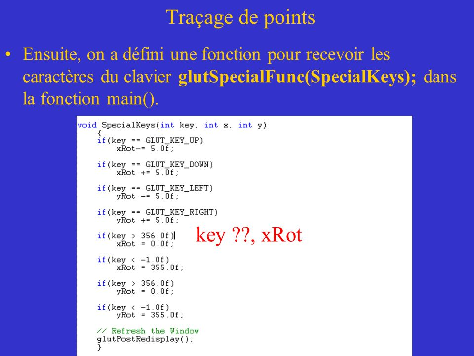 Traçage de points key , xRot
