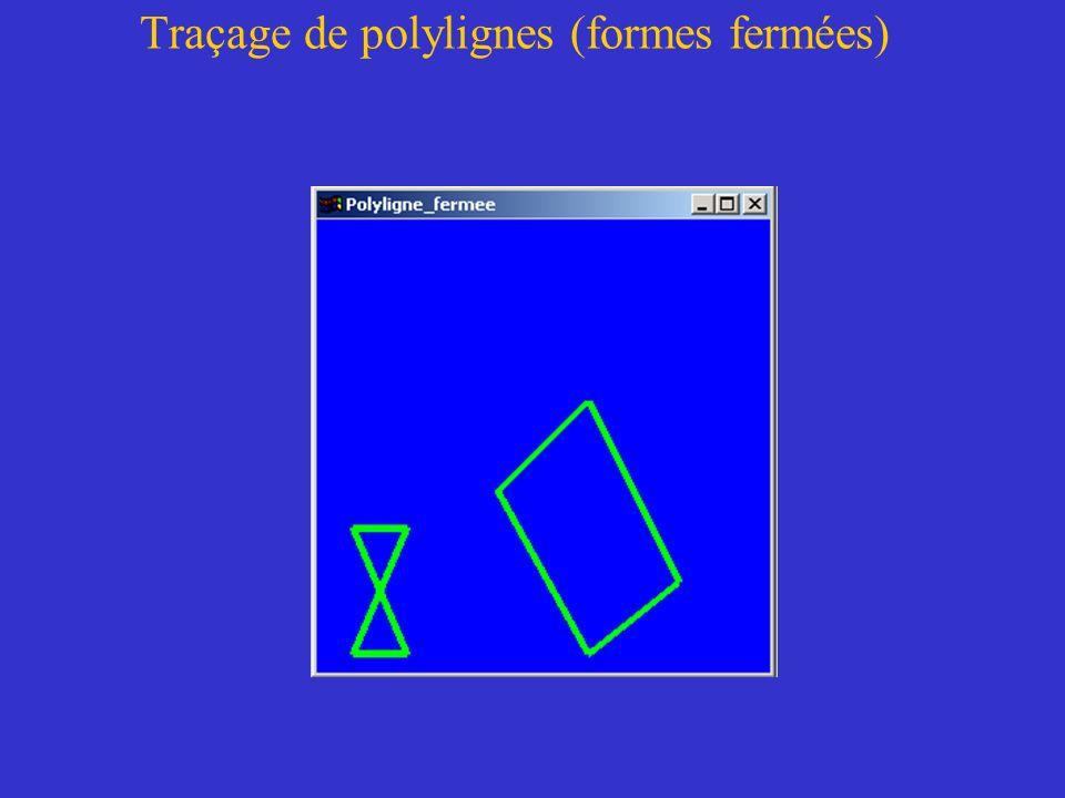 Traçage de polylignes (formes fermées)