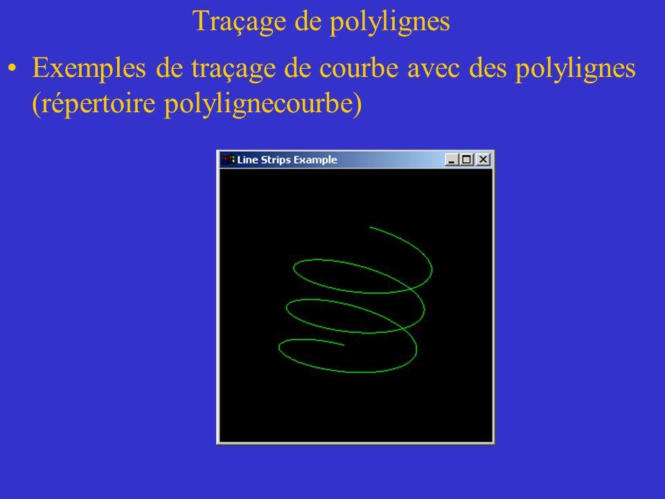 Traçage de polylignes Exemples de traçage de courbe avec des polylignes (répertoire polylignecourbe)
