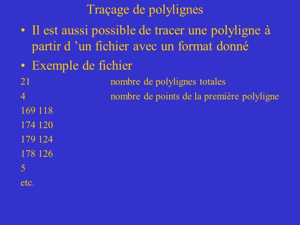 Traçage de polylignes Il est aussi possible de tracer une polyligne à partir d 'un fichier avec un format donné.