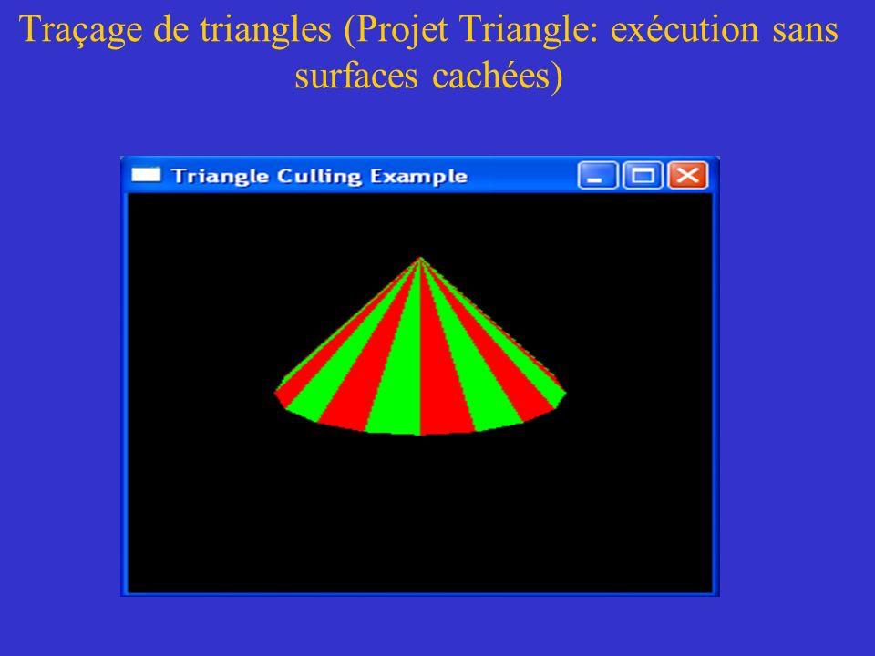 Traçage de triangles (Projet Triangle: exécution sans surfaces cachées)