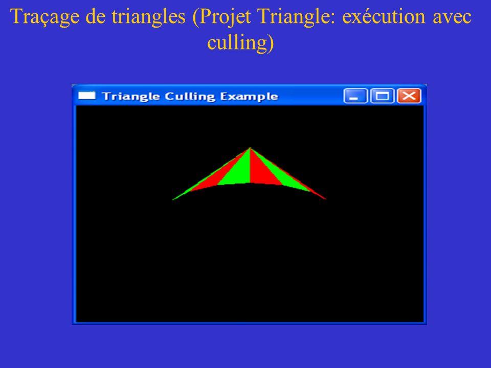 Traçage de triangles (Projet Triangle: exécution avec culling)
