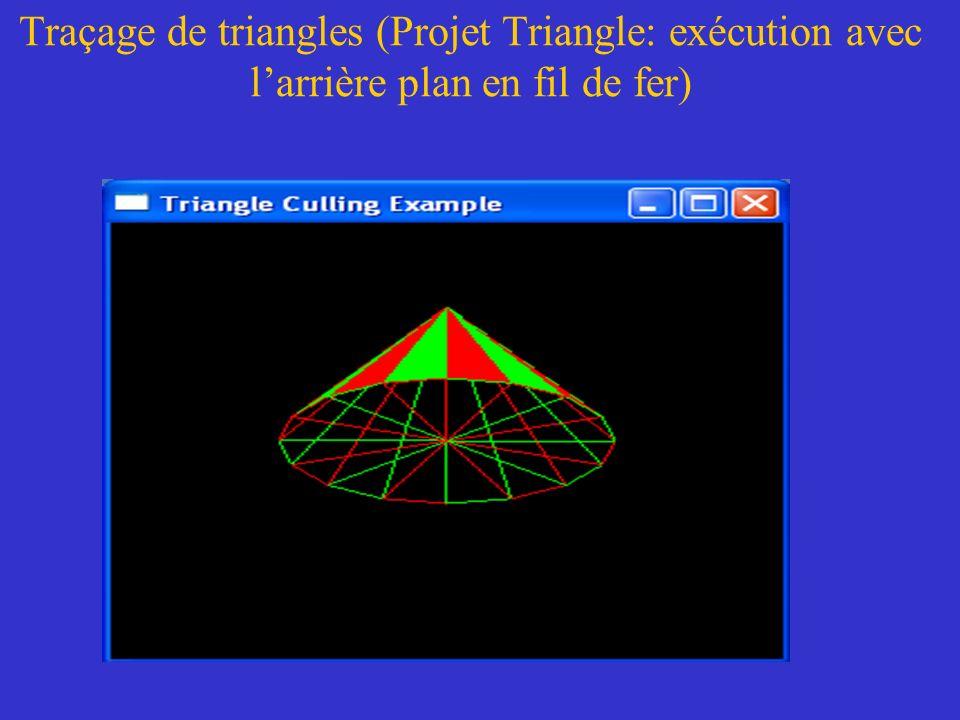 Traçage de triangles (Projet Triangle: exécution avec l'arrière plan en fil de fer)