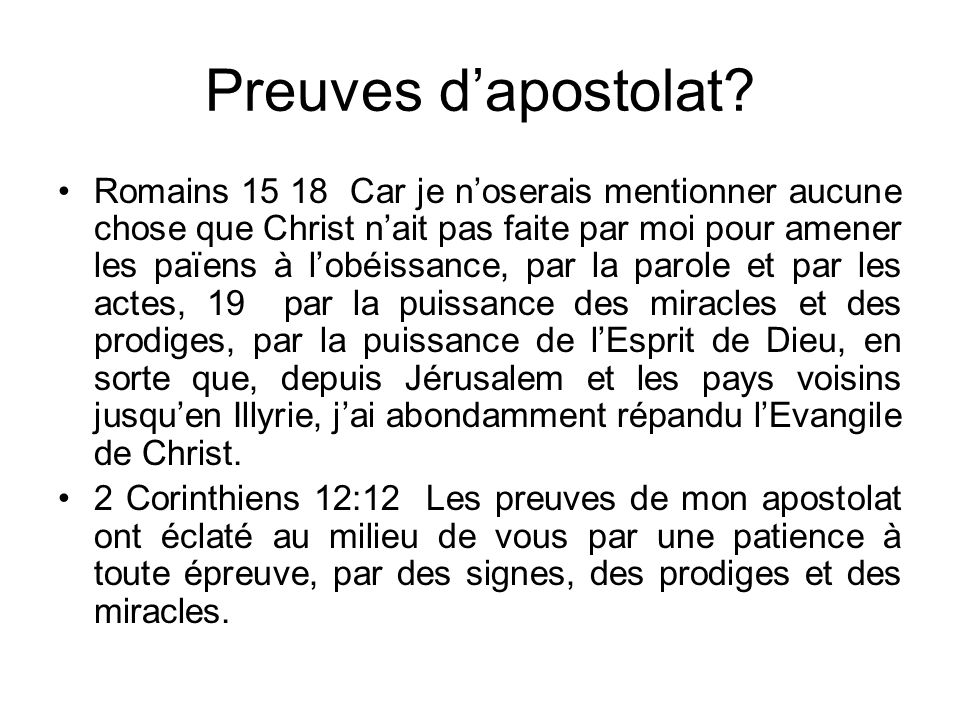 Preuves d'apostolat