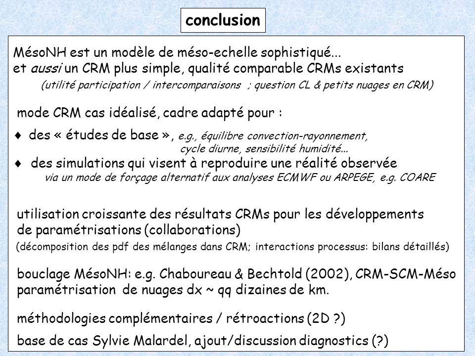 conclusion MésoNH est un modèle de méso-echelle sophistiqué...