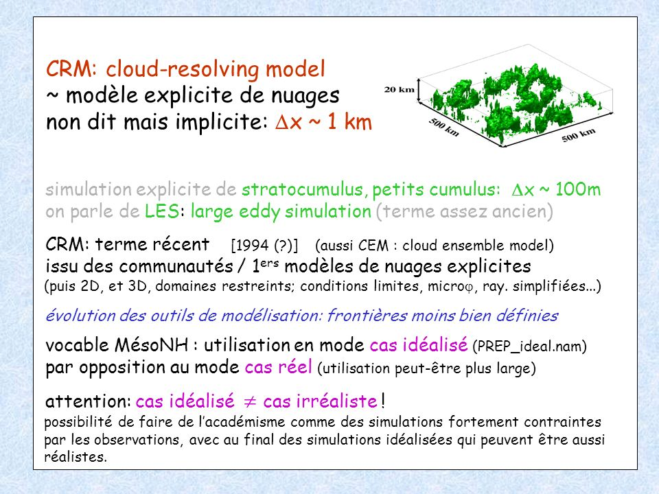 CRM: cloud-resolving model ~ modèle explicite de nuages