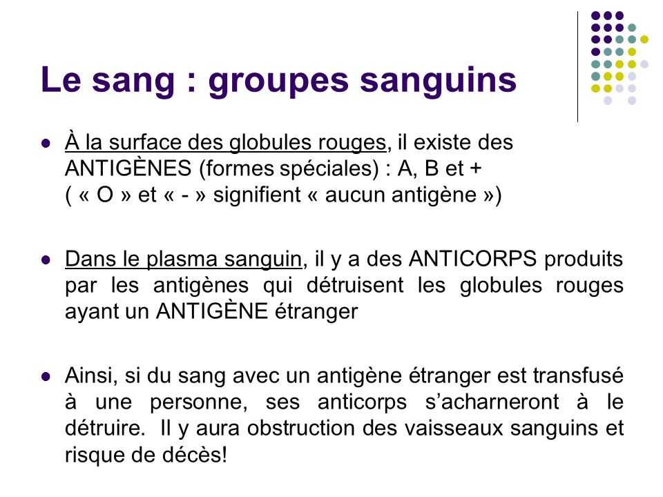 Le sang : groupes sanguins