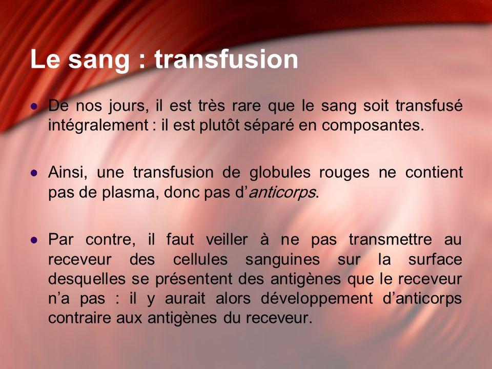 Le sang : transfusion De nos jours, il est très rare que le sang soit transfusé intégralement : il est plutôt séparé en composantes.
