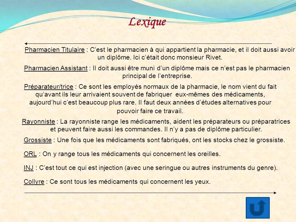 Lexique Pharmacien Titulaire : C'est le pharmacien à qui appartient la pharmacie, et il doit aussi avoir.