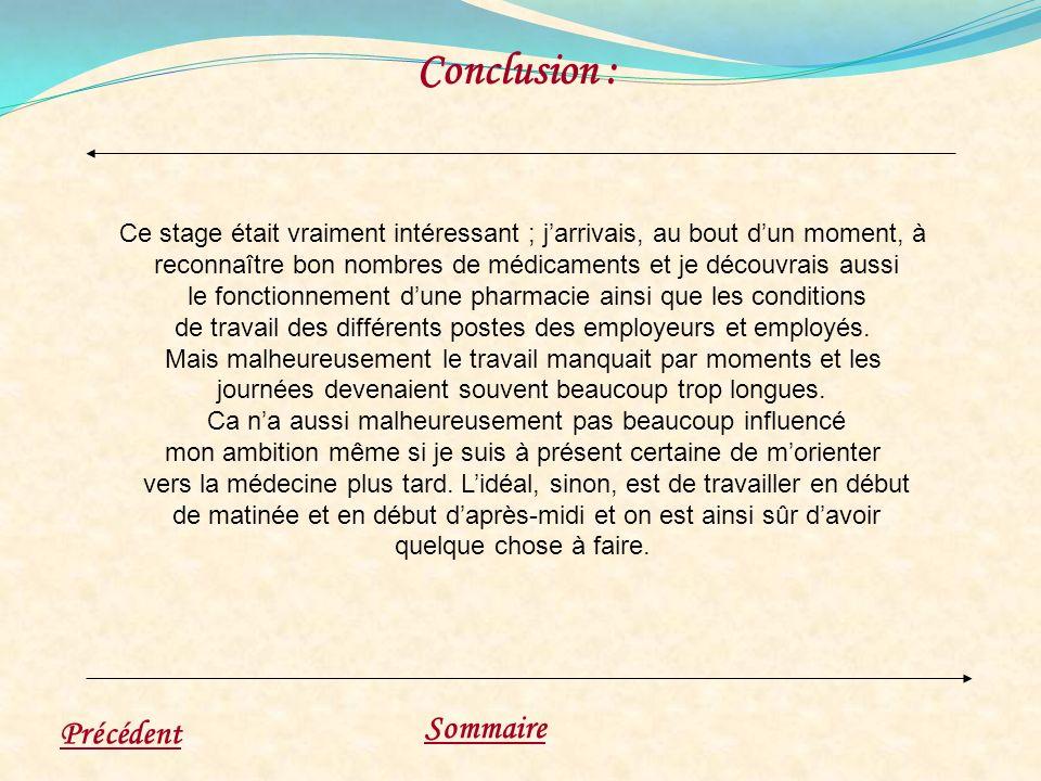 Conclusion : Sommaire Précédent