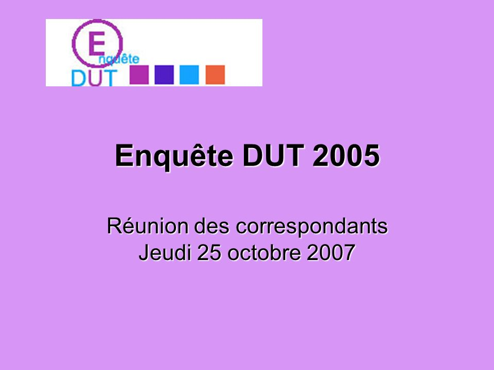 Réunion des correspondants Jeudi 25 octobre 2007