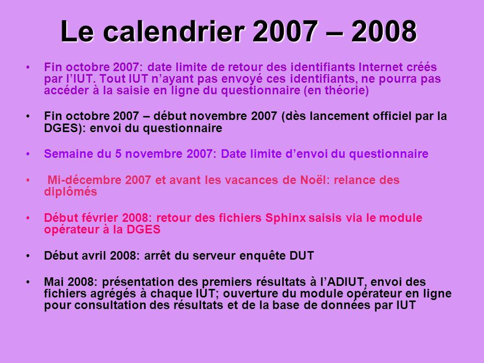 Le calendrier 2007 – 2008