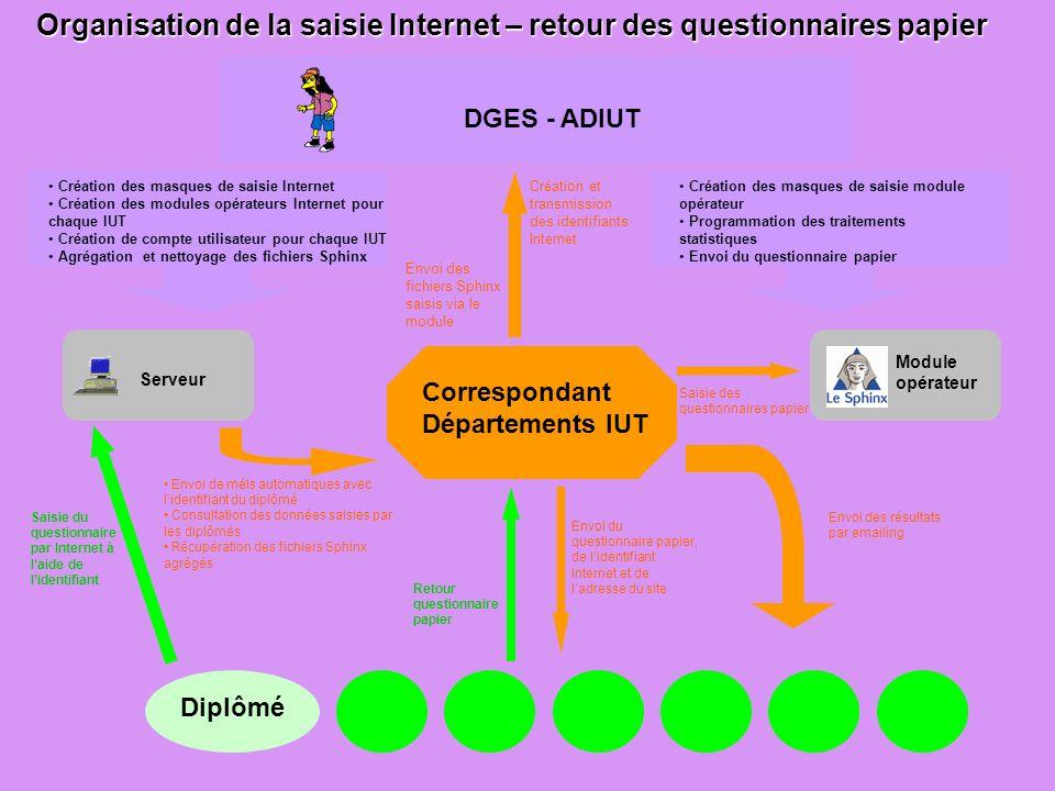 Organisation de la saisie Internet – retour des questionnaires papier