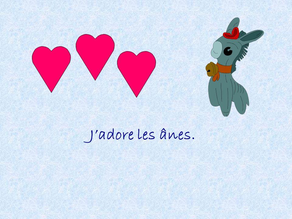 J'adore les ânes.