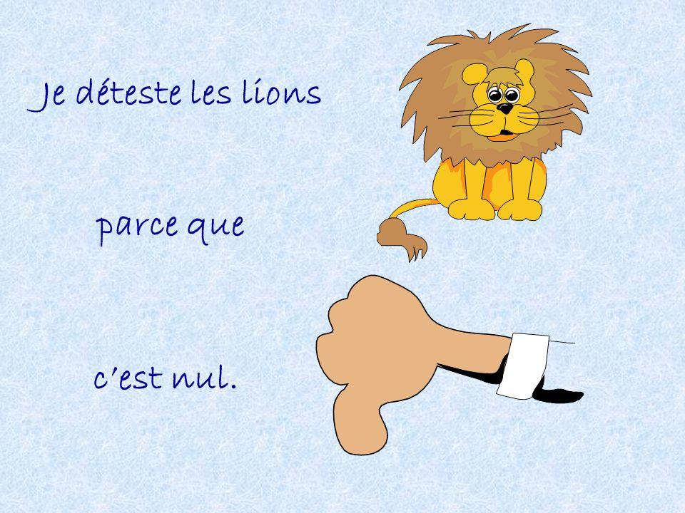 Je déteste les lions parce que c'est nul.