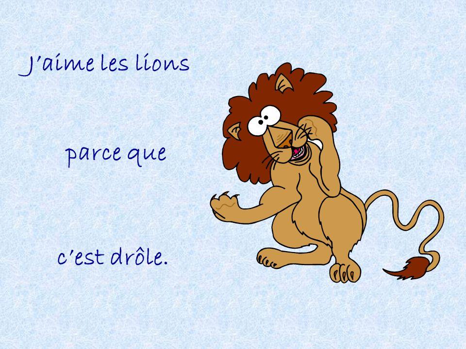 J'aime les lions parce que c'est drôle.