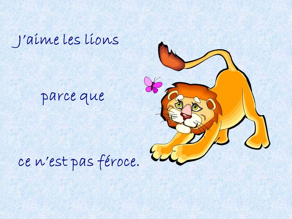 J'aime les lions parce que ce n'est pas féroce.