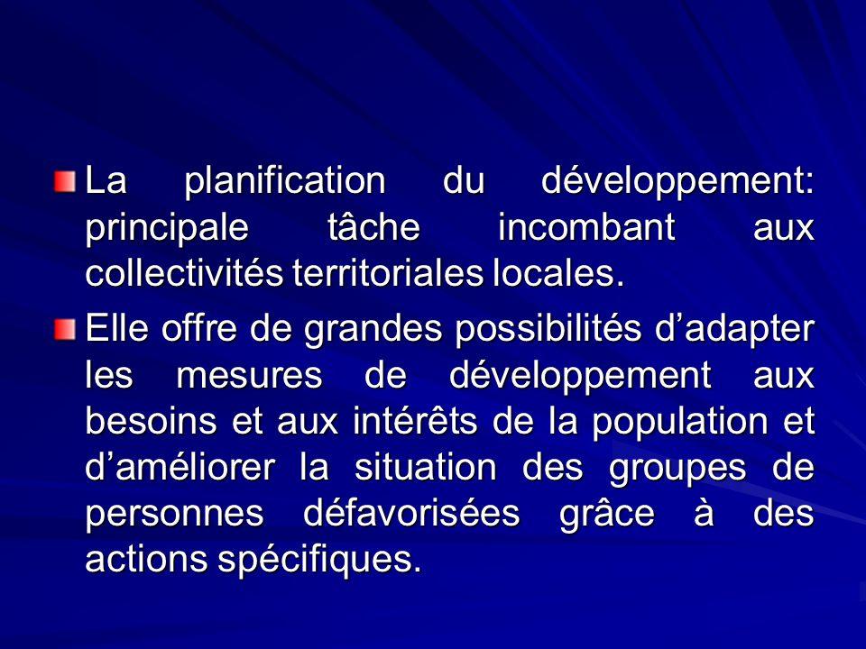 La planification du développement: principale tâche incombant aux collectivités territoriales locales.