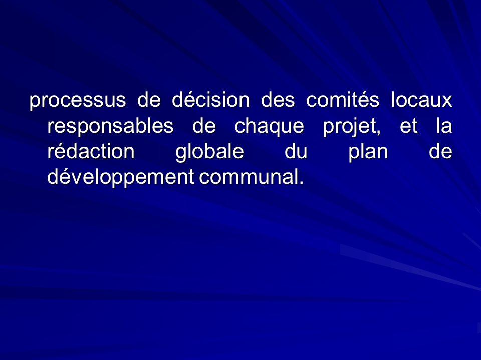 processus de décision des comités locaux responsables de chaque projet, et la rédaction globale du plan de développement communal.