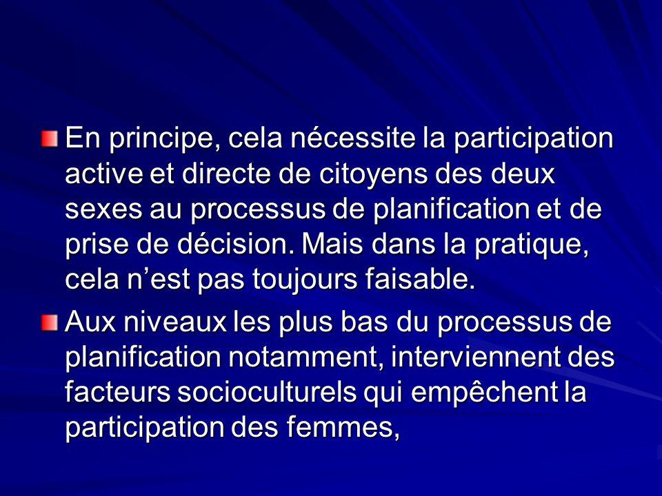 En principe, cela nécessite la participation active et directe de citoyens des deux sexes au processus de planification et de prise de décision. Mais dans la pratique, cela n'est pas toujours faisable.