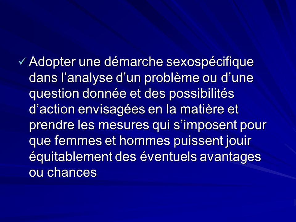 Adopter une démarche sexospécifique dans l'analyse d'un problème ou d'une question donnée et des possibilités d'action envisagées en la matière et prendre les mesures qui s'imposent pour que femmes et hommes puissent jouir équitablement des éventuels avantages ou chances