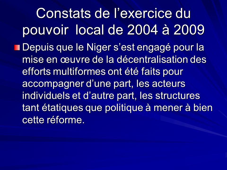 Constats de l'exercice du pouvoir local de 2004 à 2009