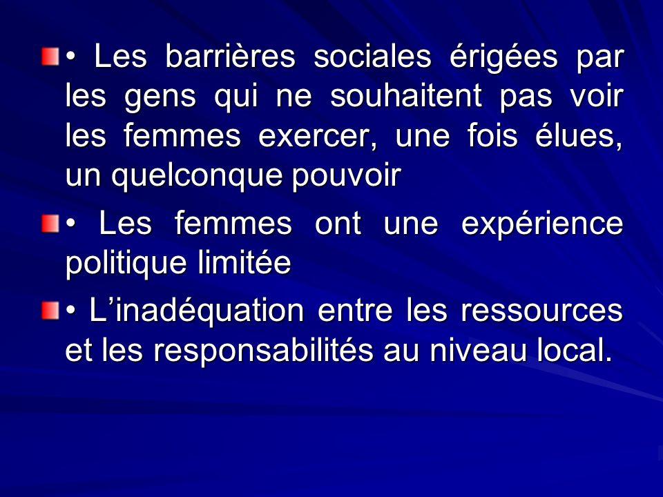 • Les barrières sociales érigées par les gens qui ne souhaitent pas voir les femmes exercer, une fois élues, un quelconque pouvoir