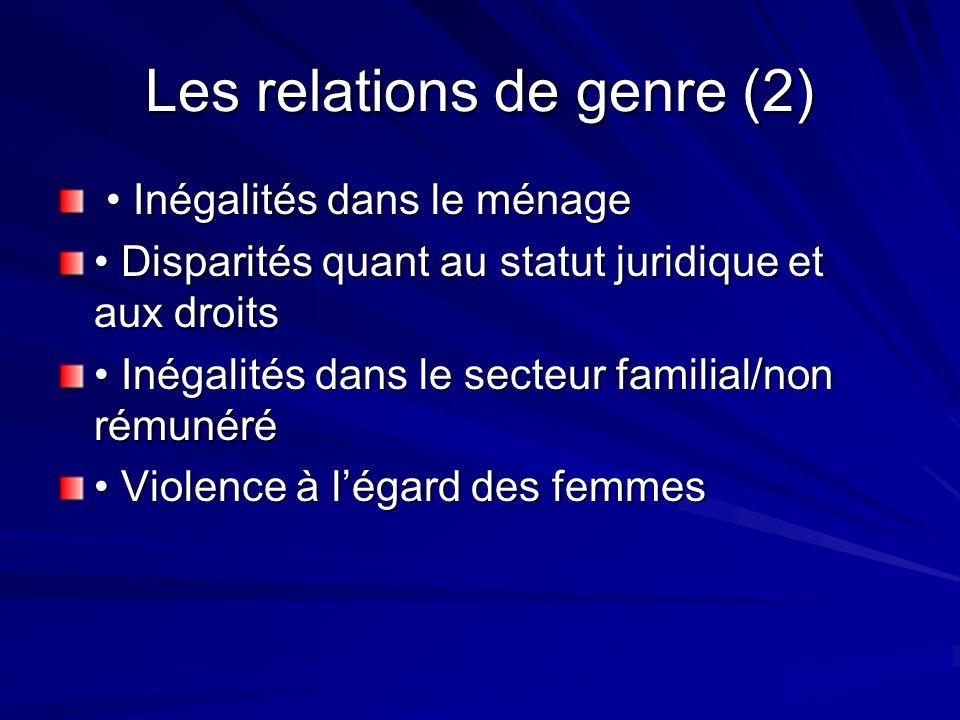 Les relations de genre (2)