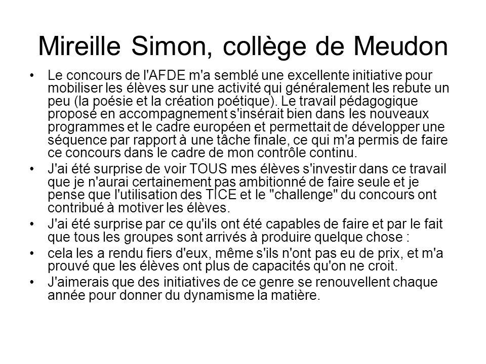 Mireille Simon, collège de Meudon