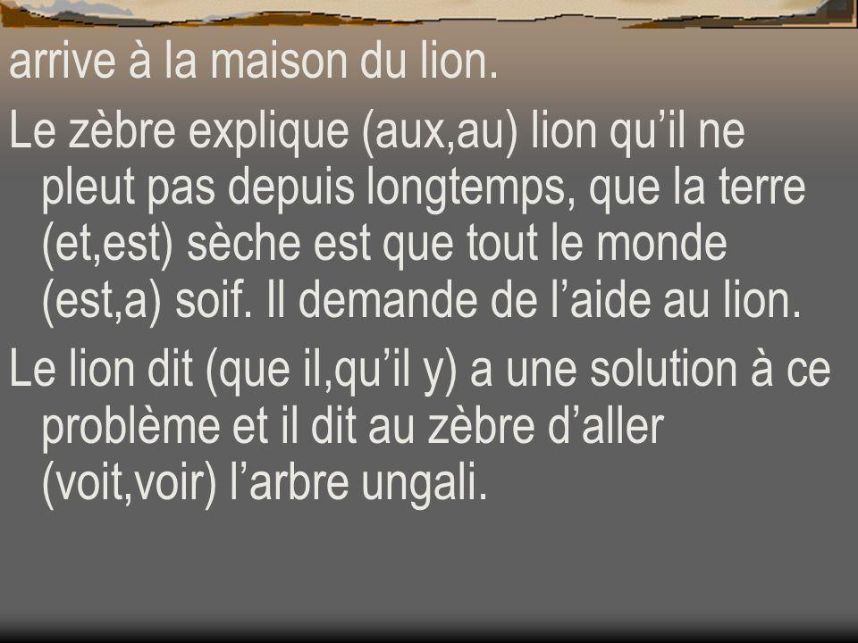 arrive à la maison du lion.