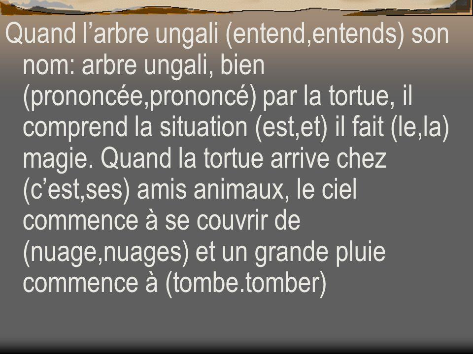 Quand l'arbre ungali (entend,entends) son nom: arbre ungali, bien (prononcée,prononcé) par la tortue, il comprend la situation (est,et) il fait (le,la) magie.